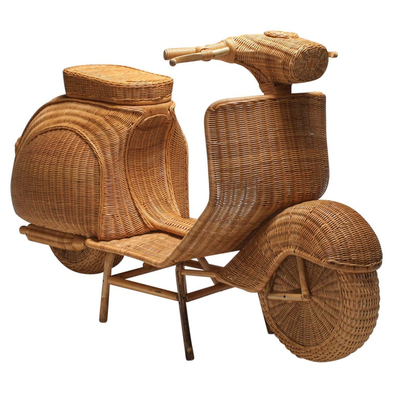 Bamboo Wicker Vespa Scooter from the 1970s