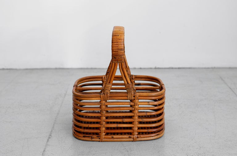 French bent bamboo and wicker wine or bottle holder.