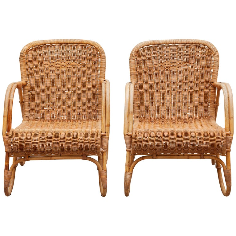 Bamboo, Woven Rattan Lounge Chairs, 1960s Designed by Dirk van Sliedrecht For Sale