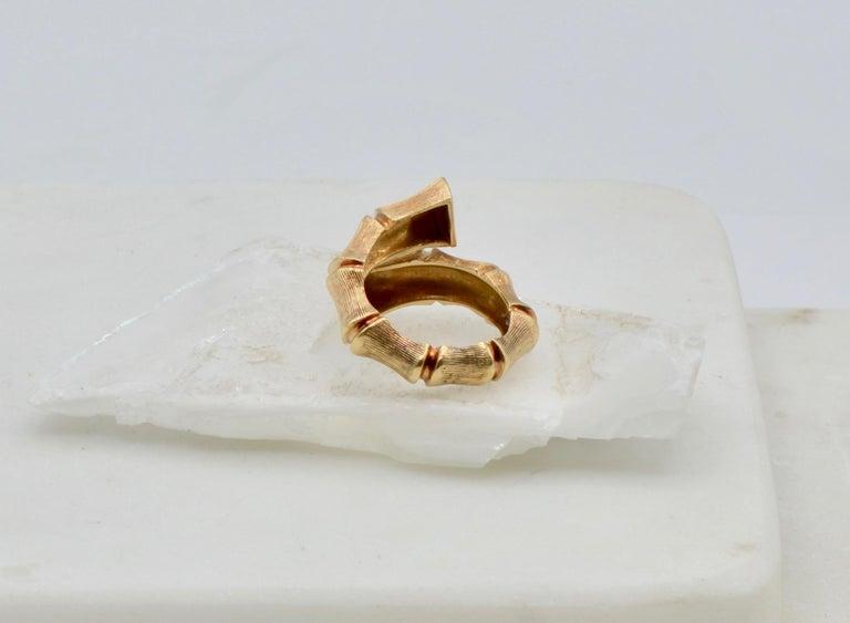 Modernist Bamboo Wrap 14 Karat Gold 80's Disco Ring For Sale