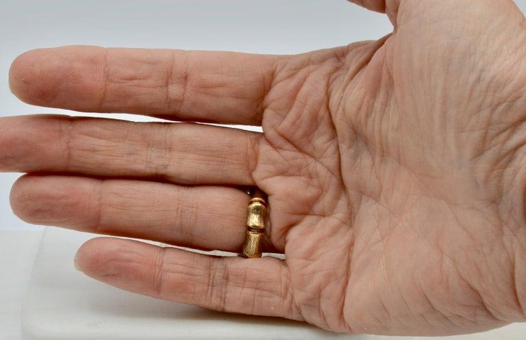 Women's or Men's Bamboo Wrap 14 Karat Gold 80's Disco Ring For Sale