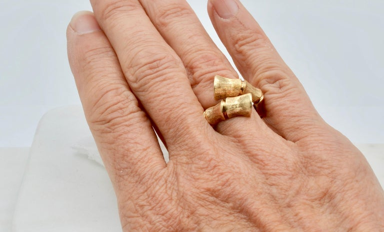 Bamboo Wrap 14 Karat Gold 80's Disco Ring For Sale 1