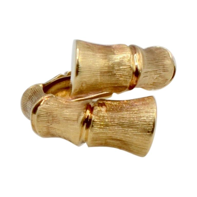 Bamboo Wrap 14 Karat Gold 80's Disco Ring For Sale