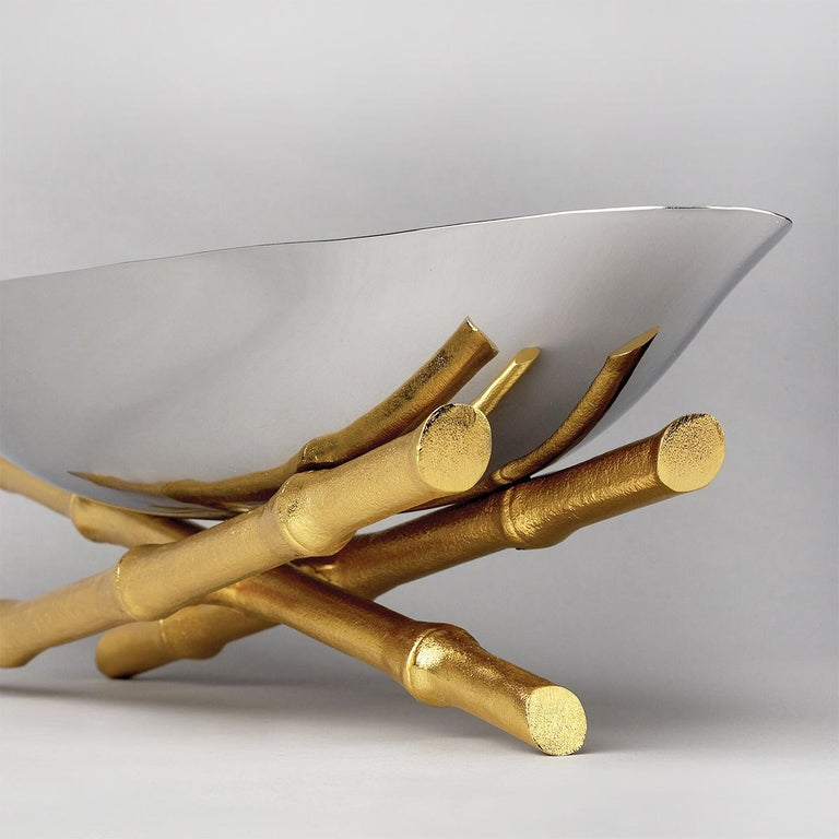 Gold Plate Bamboos Oval Cup or Center Piece For Sale