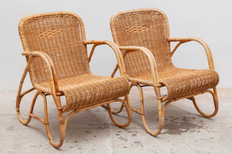 Mid-Century Modern Bamboo, Woven Rattan Lounge Chairs, 1960s Designed by Dirk van Sliedrecht For Sale