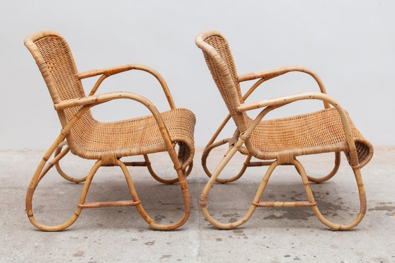 Dutch Bamboo, Woven Rattan Lounge Chairs, 1960s Designed by Dirk van Sliedrecht For Sale