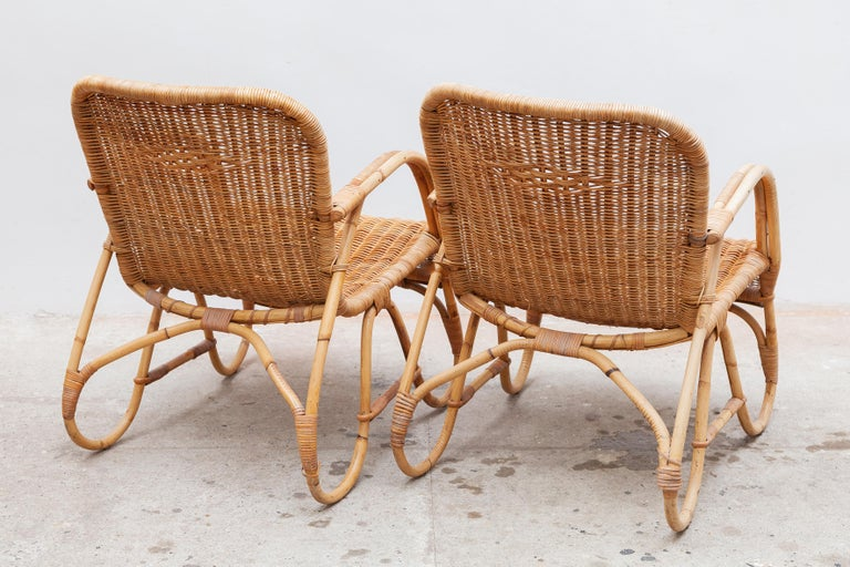 Hand-Crafted Bamboo, Woven Rattan Lounge Chairs, 1960s Designed by Dirk van Sliedrecht For Sale