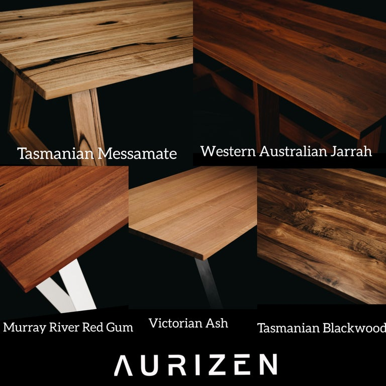 Contemporary Bambra Dining Table, Handcrafted in Tasmanian Messmate Hardwood For Sale