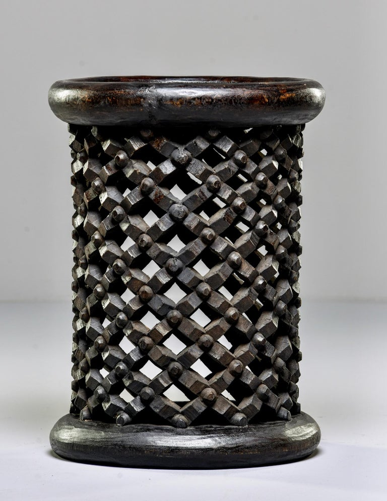 Tribal Bamileke Cameroon Pedestal Style Carved Stool or Side Table For Sale