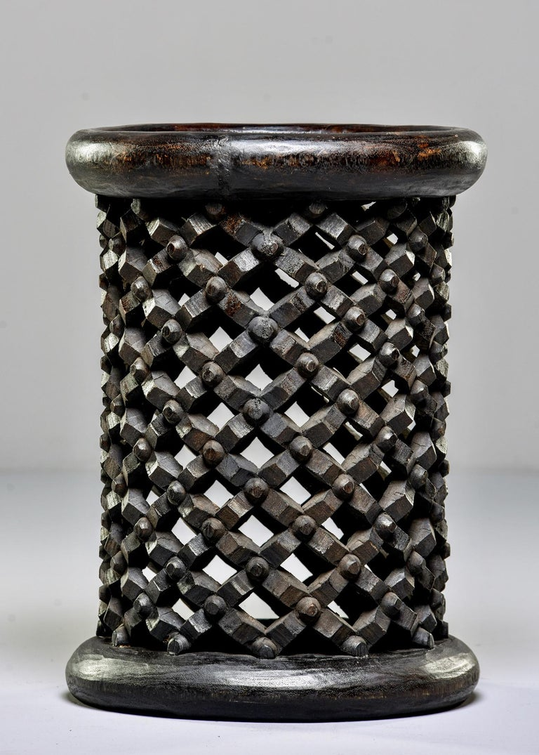 Cameroonian Bamileke Cameroon Pedestal Style Carved Stool or Side Table For Sale