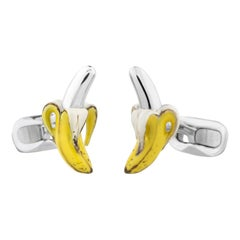 Banana Cufflinks in Hand-enameled Silver  by Fils Unique