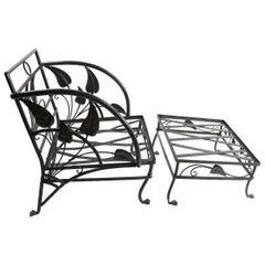 Banana Leaf Lounge Chair and Ottoman by Salterini
