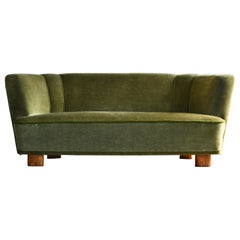 Banana Shaped Curved Sofa Covered in Original Green Velvet Danish Midcentury