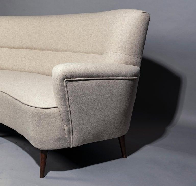 Danish Banana Sofa, Denmark 1950s, Reupholstered in Casamance Wool For Sale