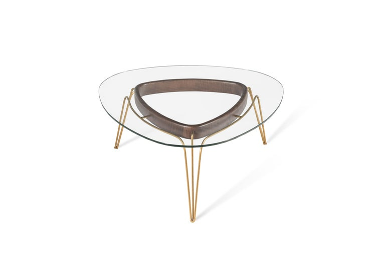 Modern Banano Occasional Table M, Walnut Frame, Glass Top, Designed by Nigel Coates For Sale