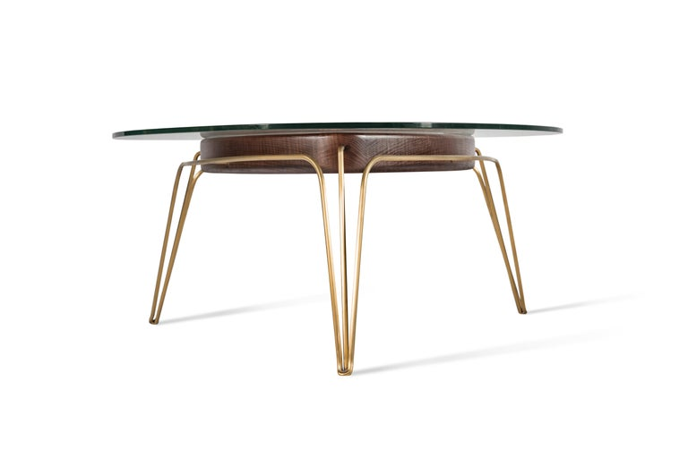 Banano Occasional Table M, Walnut Frame, Glass Top, Designed by Nigel Coates In New Condition For Sale In London, GB