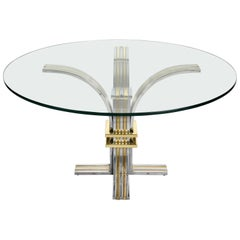 Banci and Firenze Midcentury Gilded Brass and Chromed Italian Dining Table 1970s