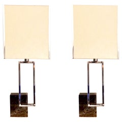 Banci Firence Pair of Italian Geometric Marble and Chrome Table Lamps