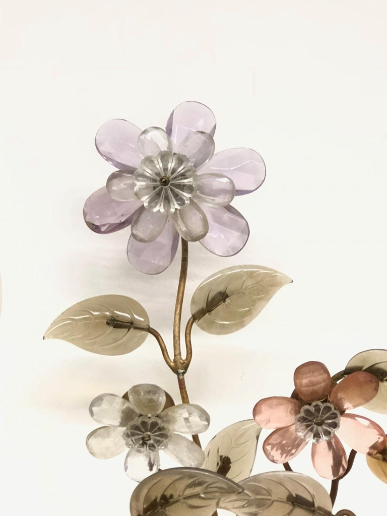 Banci Firence Sconce Iron Gilt Arms Pink Purple Crystal Flowers, 1950s In Good Condition For Sale In Frisco, TX