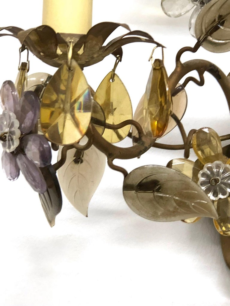 Metal Banci Firence Sconce Iron Gilt Arms Pink Purple Crystal Flowers, 1950s For Sale
