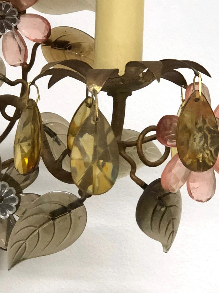 Banci Firence Sconce Iron Gilt Arms Pink Purple Crystal Flowers, 1950s For Sale 1