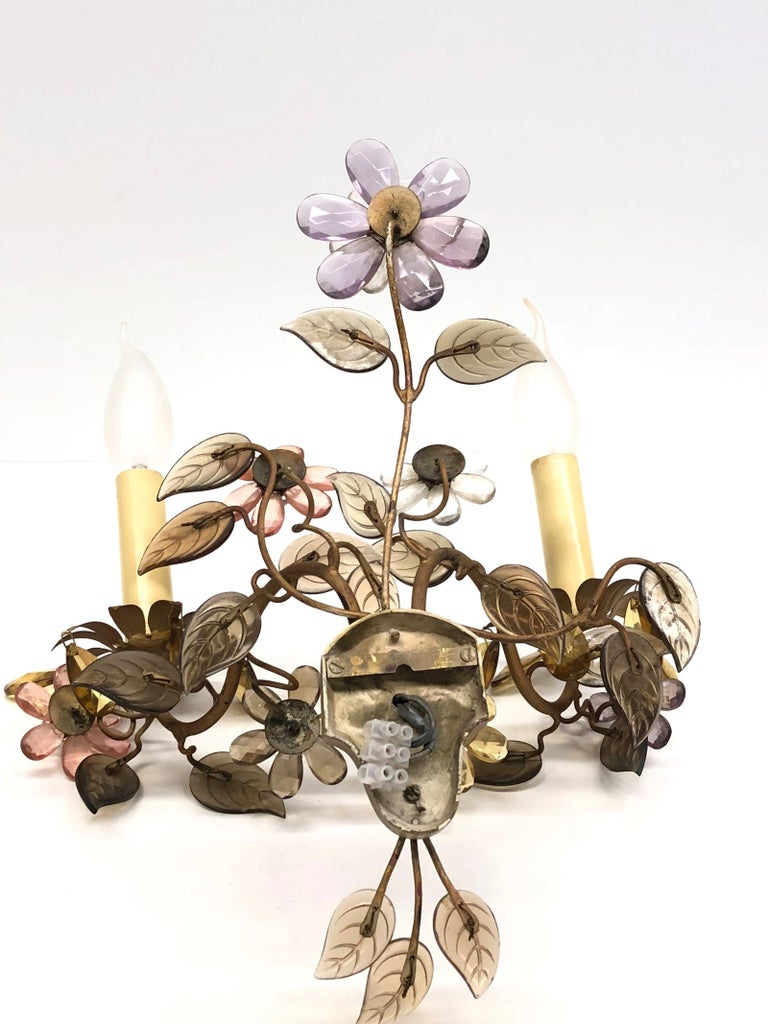 Banci Firence Sconce Iron Gilt Arms Pink Purple Crystal Flowers, 1950s For Sale 2