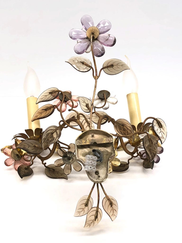 Banci Firence Sconce Iron Gilt Arms Pink Purple Crystal Flowers, 1950s For Sale 3