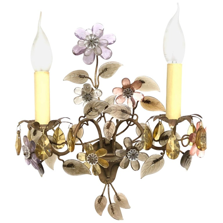 Banci Firence Sconce Iron Gilt Arms Pink Purple Crystal Flowers, 1950s For Sale