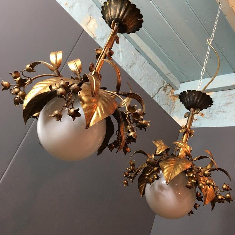 Banci Firenze, 1950s Gilt Globe Pendant Lights For Sale 2
