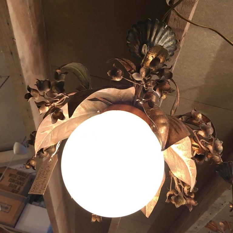 Banci Firenze, 1950s Gilt Globe Pendant Lights For Sale 3