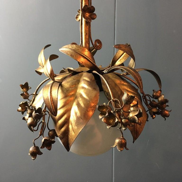 Banci Firenze, 1950s Gilt Globe Pendant Lights For Sale 5