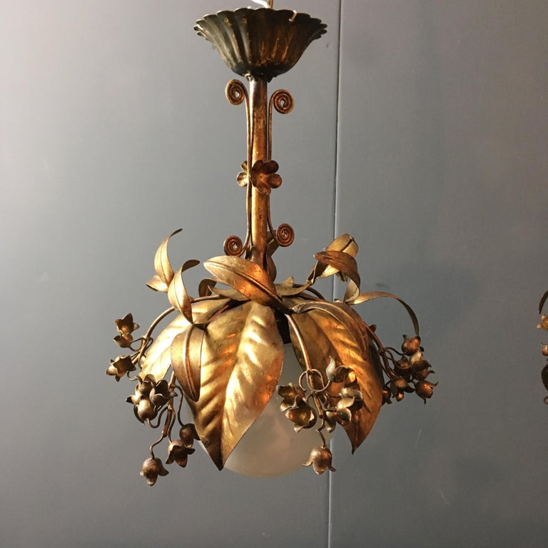Hand-Crafted Banci Firenze, 1950s Gilt Globe Pendant Lights For Sale