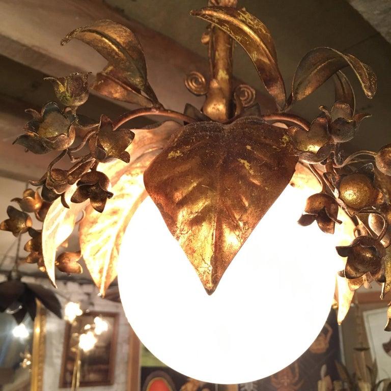 20th Century Banci Firenze, 1950s Gilt Globe Pendant Lights For Sale