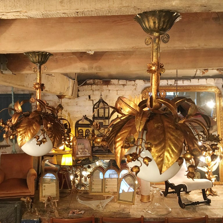 Banci Firenze, 1950s Gilt Globe Pendant Lights For Sale 1