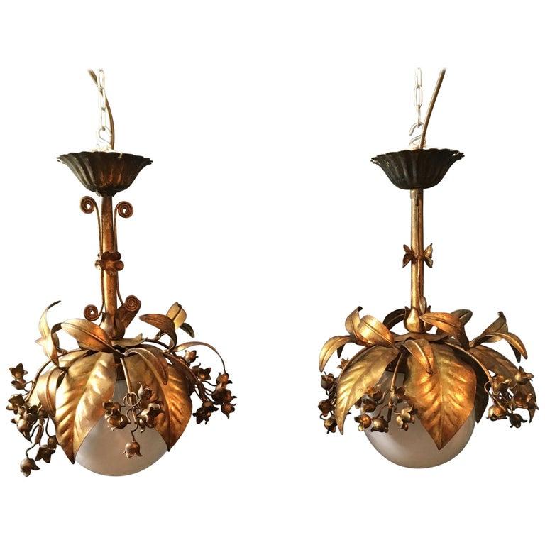 Banci Firenze, 1950s Gilt Globe Pendant Lights For Sale