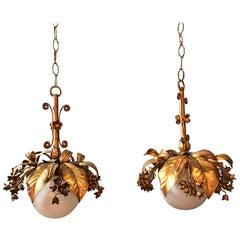 Banci Firenze 1950s Gilt Hanging Globe Pendant Lights