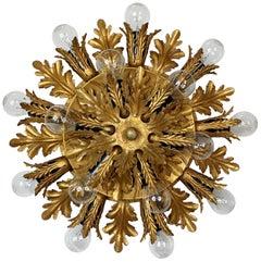 Banci Firenze 1960s Double Gilt Flush Light
