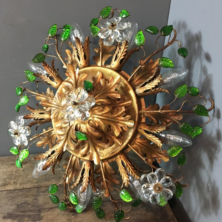 Italian florentine flush mount ceiling light