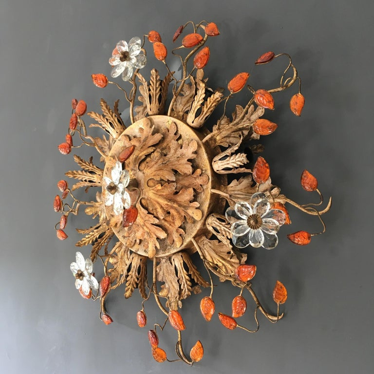 Italian Florentine flush mount ceiling light.  Banci Firenze, Italy.  1950s original item.  Stunning gold acanthus leaf design with clear glass flowers and amber glass leaves with gilt stems, Murano glass.  Measure: 58 cm width.  16 cm