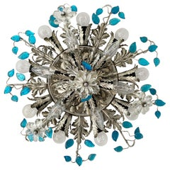 Banci Firenze Silver Florentine Ceiling Light with Murano Glass Flowers