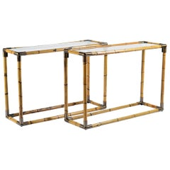 Banci Midcentury Pair of Brass and Bamboo Console, Florence, Italy, 1970