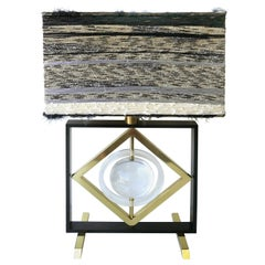 Banci Sculptural Kenetic Table Lamp with Original Shade, Brass and Lucite