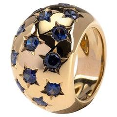 Band Blu Sapphire 18 Karat Gold Ring
