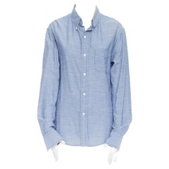 BAND OF OUTSIDER 100% cotton blue chambray curved hem casual shirt Size 3