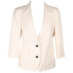 BAND OF OUTSIDERS Ivory Cotton BLAZER Jacket 3/4 SLEEVES Size 2