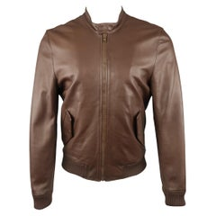 BAND OF OUTSIDERS M Brown Solid Leather Bomber Jacket