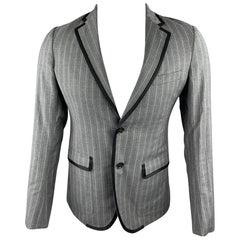 BAND OF OUTSIDERS Size 36 Grey Stripe Wool Notch Lapel Sport Coat