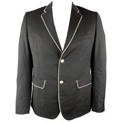 BAND OF OUTSIDERS Size 40 Black & White Wool Notch Lapel Sport Coat