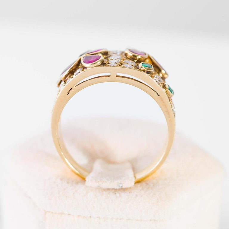Modern Band Ring in Diamonds Yellow Gold, Drop Cut Rubies and Emeralds For Sale