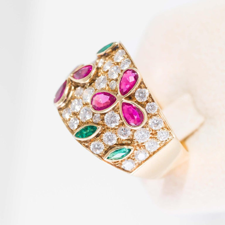 Emerald Cut Band Ring in Diamonds Yellow Gold, Drop Cut Rubies and Emeralds For Sale